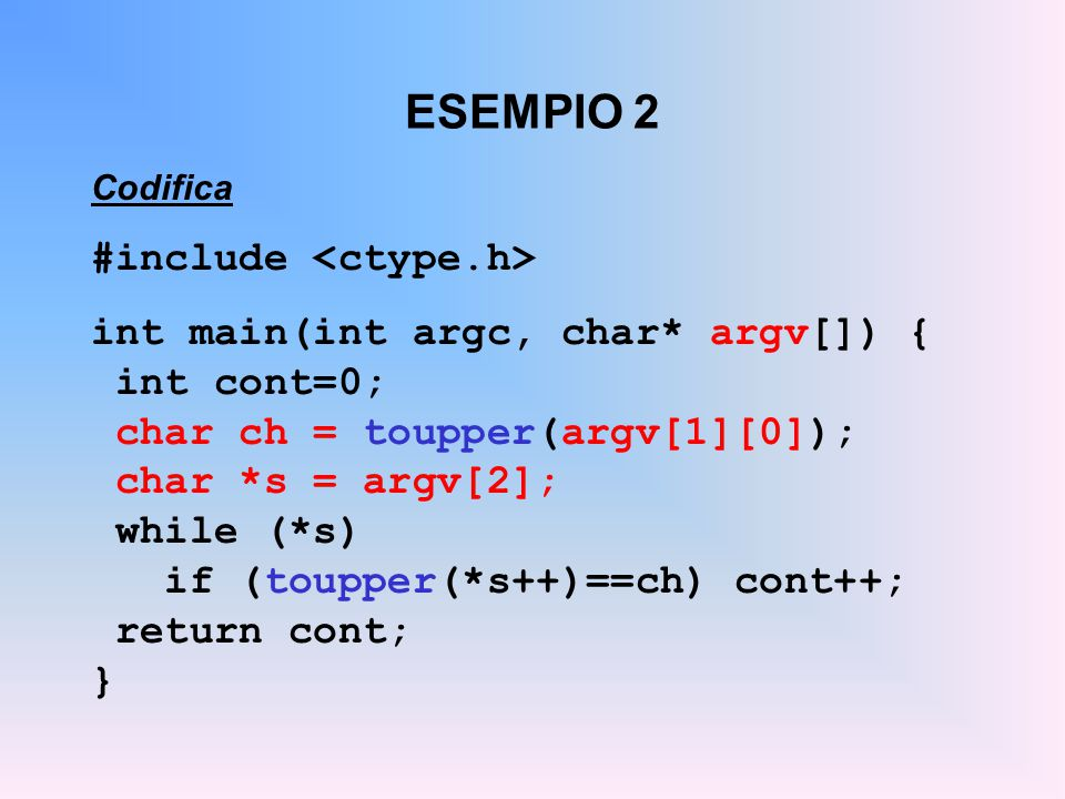 ESEMPIO 2 #include <ctype.h> int main(int argc, char* argv[]) {
